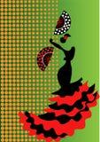 Flamenco tancerz, sylwetki piękna Hiszpańska kobieta w długiej sukni z fan Zdjęcia Stock