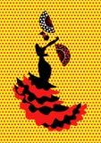 Flamenco tancerz, sylwetki piękna Hiszpańska kobieta w długiej sukni z fan lub polki kropki tłem, odizolowywającym Zdjęcia Stock