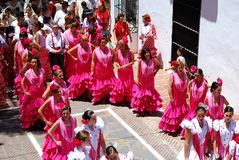Flamenco tancerze w ulicie, Marbella Fotografia Stock