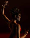 Flamenco-Tänzer auf einer dunklen Stufe Lizenzfreie Stockfotos