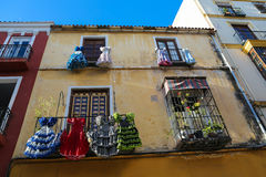 Flamenco. Traditional flamenco dresses at a house in Malaga, Andalusia, Spain Royalty Free Stock Images