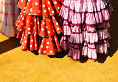 Flamenco typical dresses, Fair in Seville, Andalusia, Spain Stock Photos