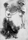 Flamenco - un ejemplo pintado a mano ilustración del vector