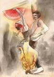 Flamenco - un ejemplo pintado a mano stock de ilustración