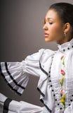 Flamenco woman. Beautiful hispanic woman in traditional hispanic flamenco dress Stock Photo