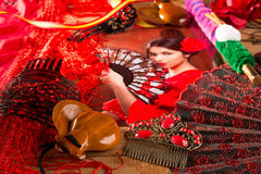 Flamenco woman with bullfighter and typical Spain Espana Stock Images