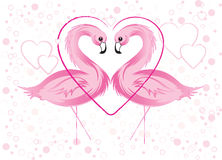 Flamenco y corazones rosados Fotografía de archivo