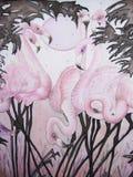 Flamenco y luna rosados con la pintura tropical de los árboles stock de ilustración