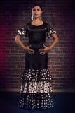 Flamencodansare i härlig klassisk klänning Arkivfoton