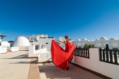 Flamencodansare i rött Royaltyfri Fotografi