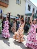 Flamencodansare i traditionella klänningar Royaltyfri Fotografi