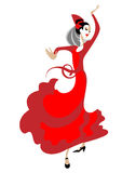 Flamencodansare med en fan Arkivbilder
