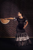 Flamencodansare med handfanen Royaltyfria Foton