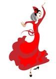 Flamencodanser met een ventilator Stock Afbeeldingen