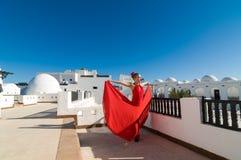 Flamencodanser in rood Royalty-vrije Stock Fotografie