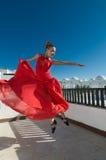 Flamencodanser tijdens de vlucht Royalty-vrije Stock Foto