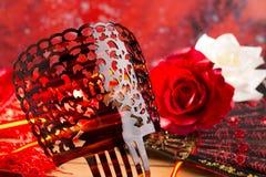 Flamencokammfan und -rosen typisch von Spanien Espana Stockbild