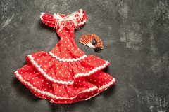 Flamencokleding voor pop Stock Fotografie
