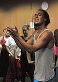 Flamencolärare Miguel Vargas på flamencokonstmitten 'La Merced 'i Cadiz arkivbild