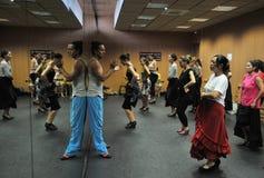 Flamencolärare Miguel Vargas på flamencokonstmitten 'La Merced 'i Cadiz royaltyfri bild