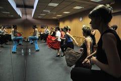 Flamencolärare Miguel Vargas på flamencokonstmitten 'La Merced 'i Cadiz royaltyfri fotografi