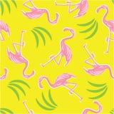 Flamencos rosados y modelo inconsútil de las hojas de palma ilustración del vector