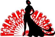 Flamencotänzer auf einem roten Fan Lizenzfreies Stockbild