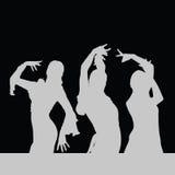 Flamencotanz-Mädchenschattenbild auf Schwarzem Stockfotos