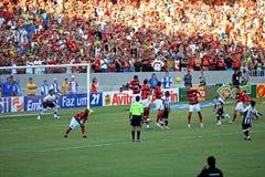 Flamengo striker heading ball Maracana stadium Stock Image