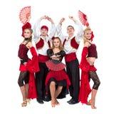 Flamenko舞蹈家在白色背景隔绝的队跳舞 免版税库存照片