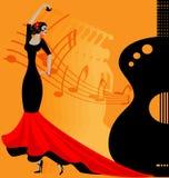 flamenko dancer in red-black stock illustration