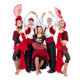Flamenko dancer team dancing isolated on white background Royalty Free Stock Photo
