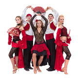 Flamenko dancer team dancing isolated on white background Stock Photography