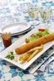 Flamenquin, spanish deep fried long pork roulade. Flamenquin, deep fried long pork roulade, spanish cordoba cuisine Stock Photography