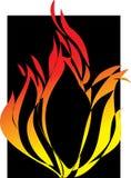 Flamens um fundo preto. Ilustração Stock