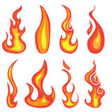 Flames. A set of hand drawn red hot flames and fire icon design elements isolated on a white background Royalty Free Stock Photo