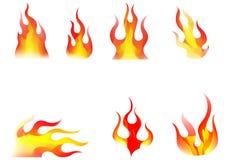 Flames. Set of flames / 7 pcs Stock Photos