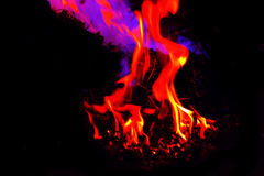 Flames #2. Abstract flames, bright glowing colors against pure black Royalty Free Stock Photography