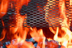 Flames. Hot BBQ with bright orange fire Royalty Free Stock Photography