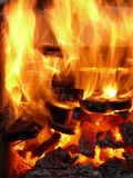 Flames. Close-up at camp fire Royalty Free Stock Images