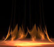 Flames. Rendering of flickering flames on black Stock Image