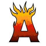 Flames Alphabet letter - A. Set of hell comix alphabet letter or number at shape of flames Royalty Free Stock Image