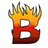 Flames Alphabet letter - B. Set of hell comix alphabet letter or number at shape of flames Stock Photo
