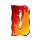 Flames Alphabet Letter D. Set of celebration alphabet letters and numbers Royalty Free Stock Photos