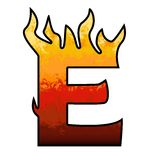 Flames Alphabet Letter E. Set of celebration alphabet letters and numbers Royalty Free Stock Photography
