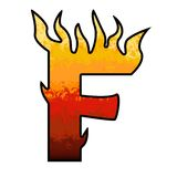 Flames Alphabet Letter F. Set of celebration alphabet letters and numbers Royalty Free Stock Photo