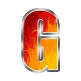 Flames Alphabet Letter G. Set of celebration alphabet letters and numbers Stock Photos