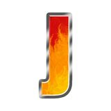 Flames Alphabet Letter J. Set of celebration alphabet letters and numbers Stock Image