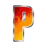 Flames Alphabet Letter P Stock Photos