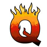 Flames Alphabet Letter Q. Set of celebration alphabet letters and numbers Royalty Free Stock Photos